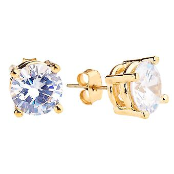 Iced out bling round cubic zirconia Stud Earrings - gold