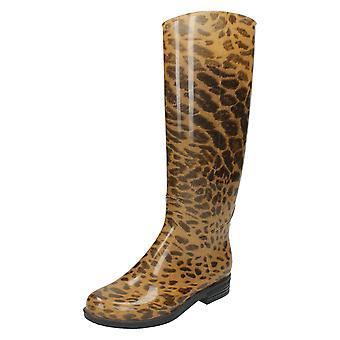 Las señoras punto sobre patas altas leopardo imprimir Wellington Boot