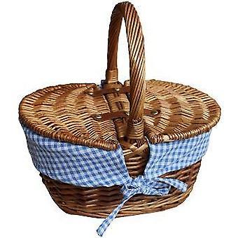 Childs Light Steamed Finish Blue Check Oval Picnic Basket