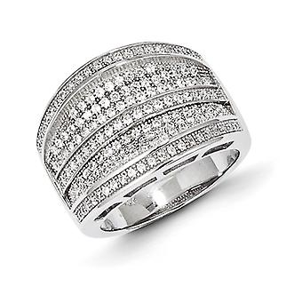 Sterling Silver Pave Rhodium-plated and Cubic Zirconia Brilliant Embers Ring - Ring Size: 6 to 7