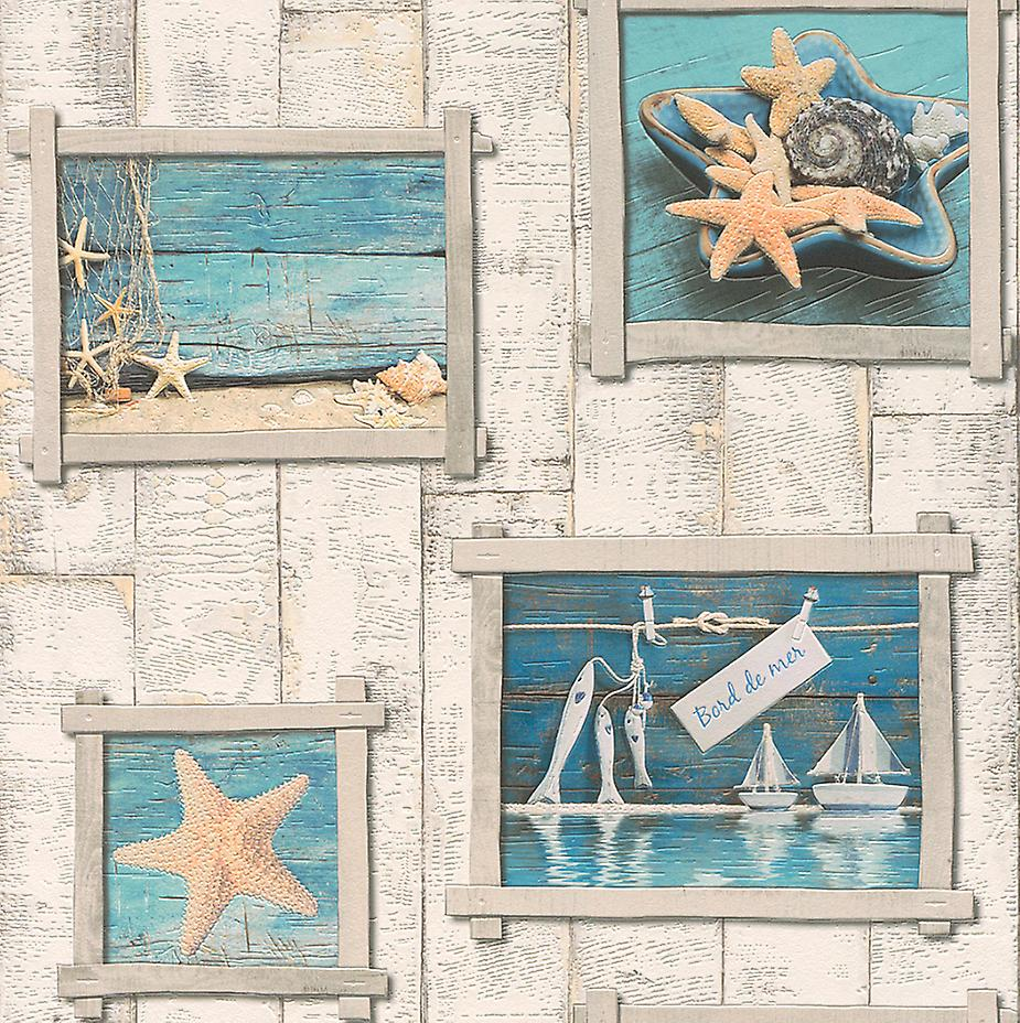 Sea Life Vintage Starfish Boats Wooden Panel Vinyl Washable Aqua Wallpaper