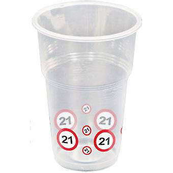 Cup 10 PCs traffic sign number 21 birthday chalice 350 ml party