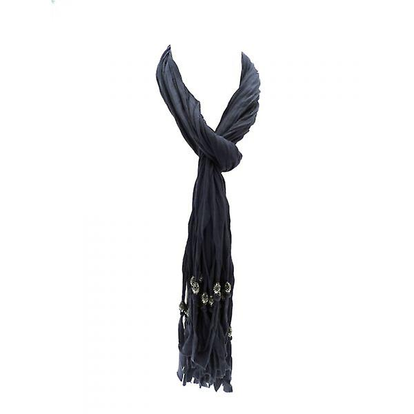 W.A.T Soft Grey Cotton Crinkled  Beaded Tassel Scarf