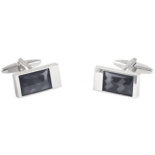 David Van Hagen Carbon Fibre Rectangle Cufflinks - Silver/Black