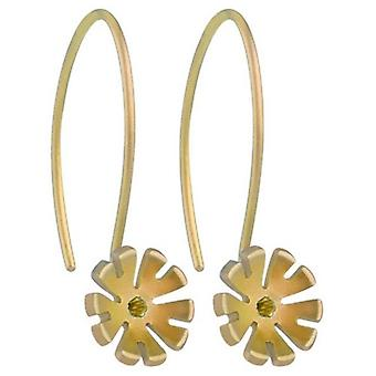 Ti2 Titanium 8mm Ten Petal Flower Drop Earrings - Tan Beige