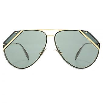 Alexander McQueen Edge Cut Out Aviator Sunglasses In Gold Green