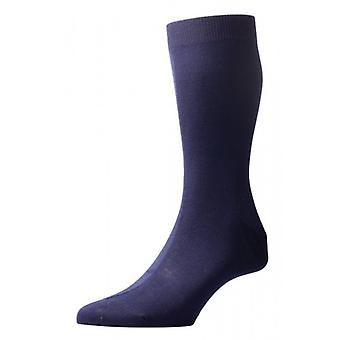 Pantherella Tabbard Flat Knit Cotton Lisle Socks - Navy