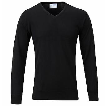Maddins Mens 14 Gauge V Neck Fully Fashioned Jumper / Sweatshirt