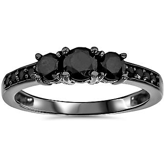 Black Diamond 3 anillo 10K Black Gold a un tratamiento térmico de 1 1 / 5ct