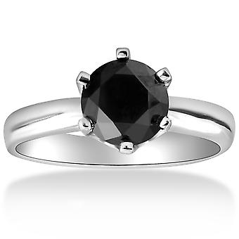 1 قيراط مستديرة سوداء سوليتير الماس الذهب الأبيض خاتم الخطوبة