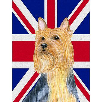 Silky Terrier with English Union Jack British Flag Flag Canvas House Size