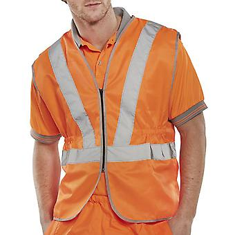B-Seen Rail Spec Hi Vis Vest 80/20 Polycotton Go/Rt 3279 RIS3279 - Rsv02