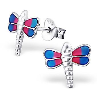 Dragonfly - 925 Sterling Silver Colourful Ear Studs - W19056x