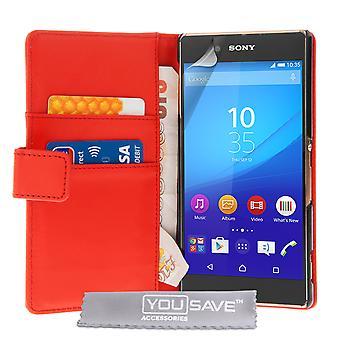 Sony Xperia Z3 плюс кожа эффект бумажник чехол - красный