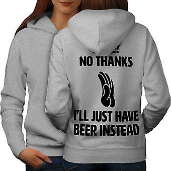 Keine Liebe Bier Witze lustige Frauen GreyHoodie Rücken | Wellcoda