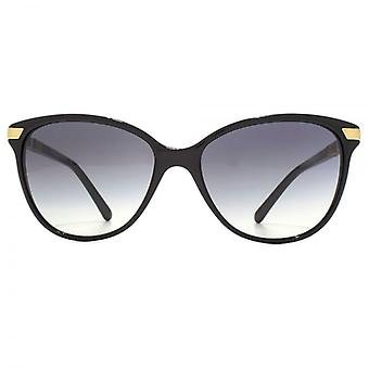 Burberry Stripe Temple Cateye Sunglasses In Black