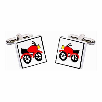 Red Motorcycle Cufflinks by Sonia Spencer, in Presentation Gift Box. Motorbike
