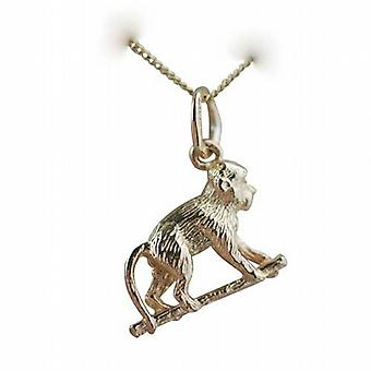 9ct Gold 10x14mm Monkey on all fours Pendant with a curb Chain 20 inches