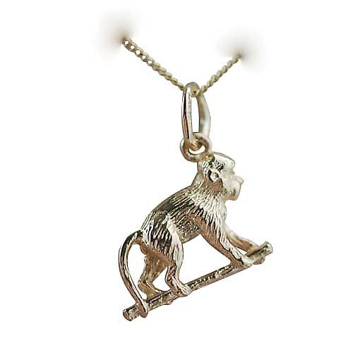 9ct Gold 10x14mm Monkey on all fours Pendant with a curb Chain 16 inches Only Suitable for Children