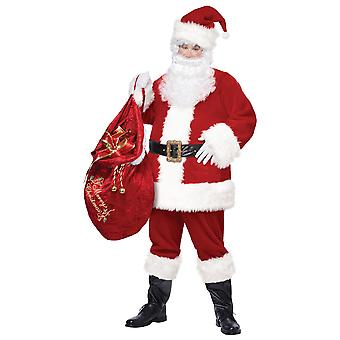 Deluxe Mr Santa Claus Red Suit Christmas Party Fancy Dress Up Mens Costume