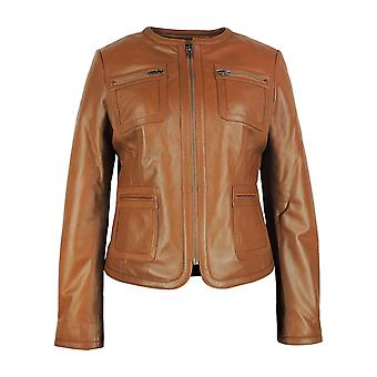 Tan Womens  Leather Jacket