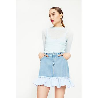 English Factory Denim Mini Skirt With Peplum Hem
