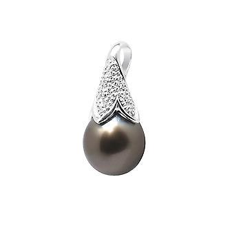 Diamantes, pendente da pérola do Taiti e branco ouro 750/1000