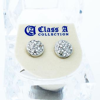 Bling iced out earrings - ROUND DOME 10 mm
