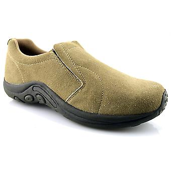 Mens Leather Suede Jungle Moc Hiking Walking Slip On Trainers Casual Shoes