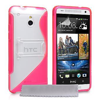 Caseflex HTC One Mini silicona Gel S-Line soporte caso - blanco-rosa