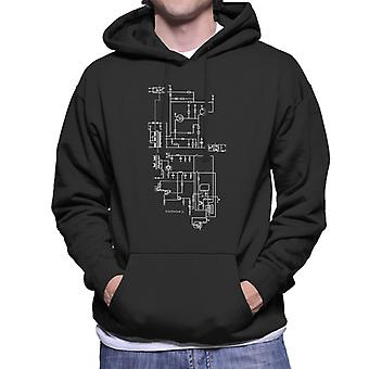 PlayStation 1 Computer Schematic Men's Hooded Sweatshirt