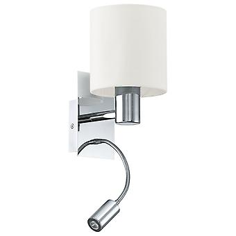 Eglo Halva Chrome And Beige Hotel Room Wall Reading Light