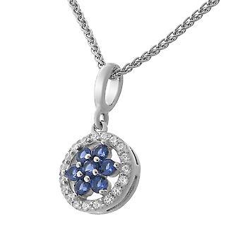 Orphelia Silver 925 Pendant With Chain Blue/White Zirconium   ZH-7047