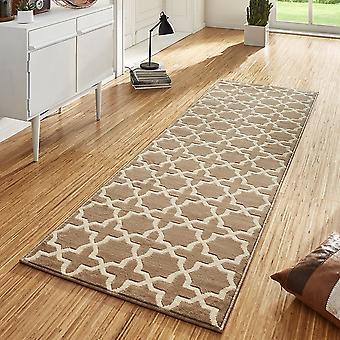 Design velour carpet runners bridge Glam Brown cream