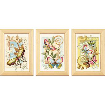Deco Butterflies Miniatures On Aida Counted Cross Stitch Kit-3