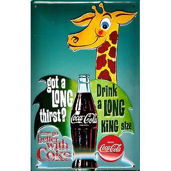 Coca Cola Giraffe Embossed Metal Sign 300Mm X 200Mm
