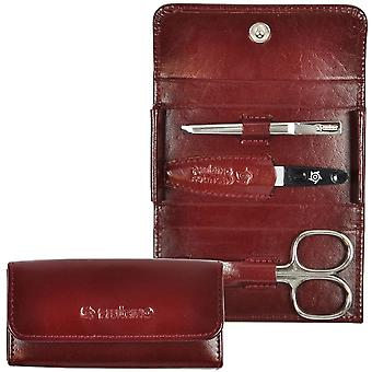 Arrow ring manicure case leather bordeaux, 3-piece Assembly, nickel-plated