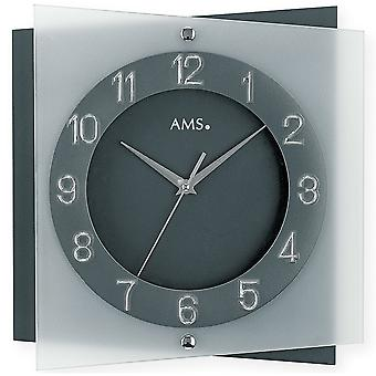 Wall clock modern creeping second anthracite mineral glass
