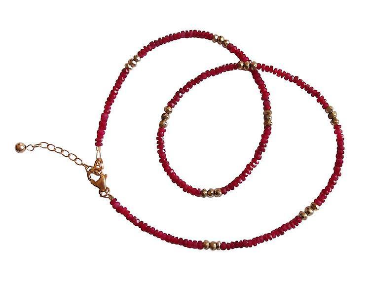 Rougee Rubinkette femmeskette Rubin und Pyrit Halskette veroret Edelsteinkette