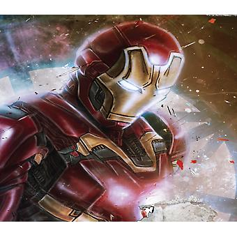 Vinyl Wall Smashed 3D Art Stickers of Illustrated Ironman Poster Bedroom Boys Girls