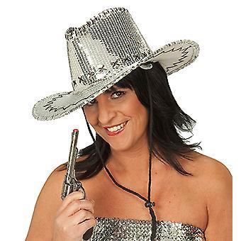 Chapeau de cowboy sequin argent