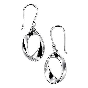 Elements Silver Open Twist Oval Drop Earrings - Silver
