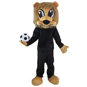 mascot SPOTSOUND Brown lion in black sportswear, with a balloon
