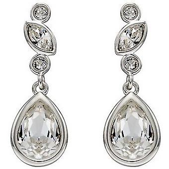 Elements Silver Swarovski Bridal Earrings - Silver