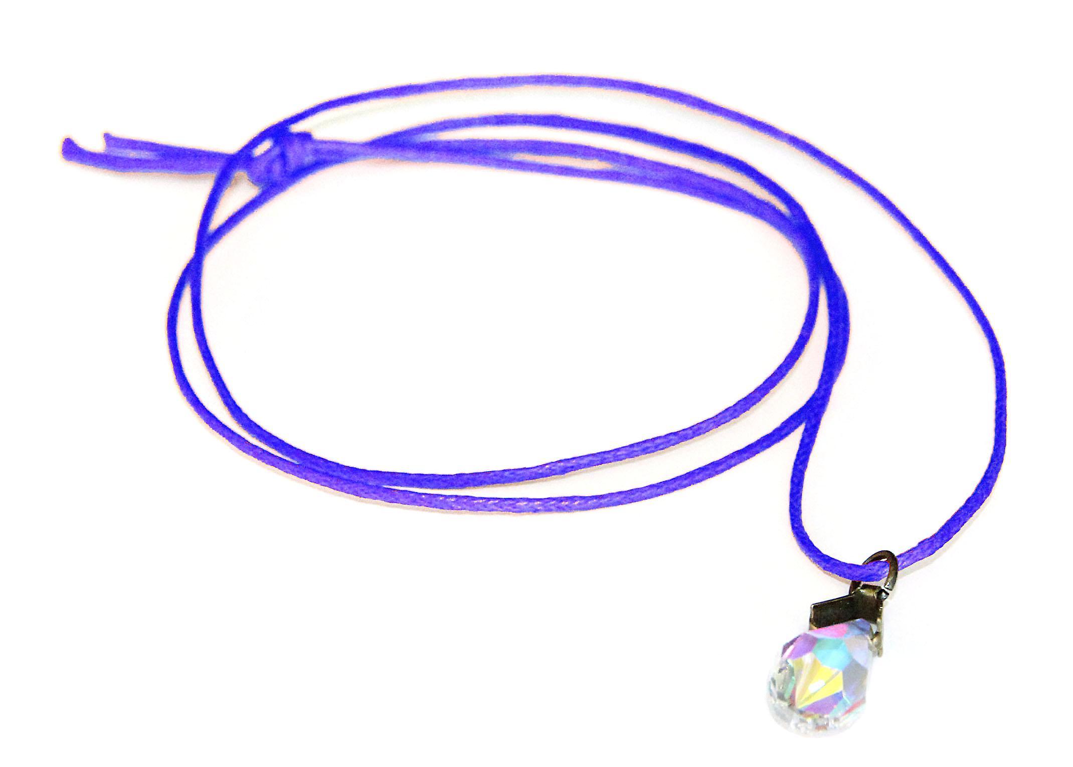 Waooh - Bijoux - Swarovski / Pendentif goutte nacré reflet bleu et cordon ciré