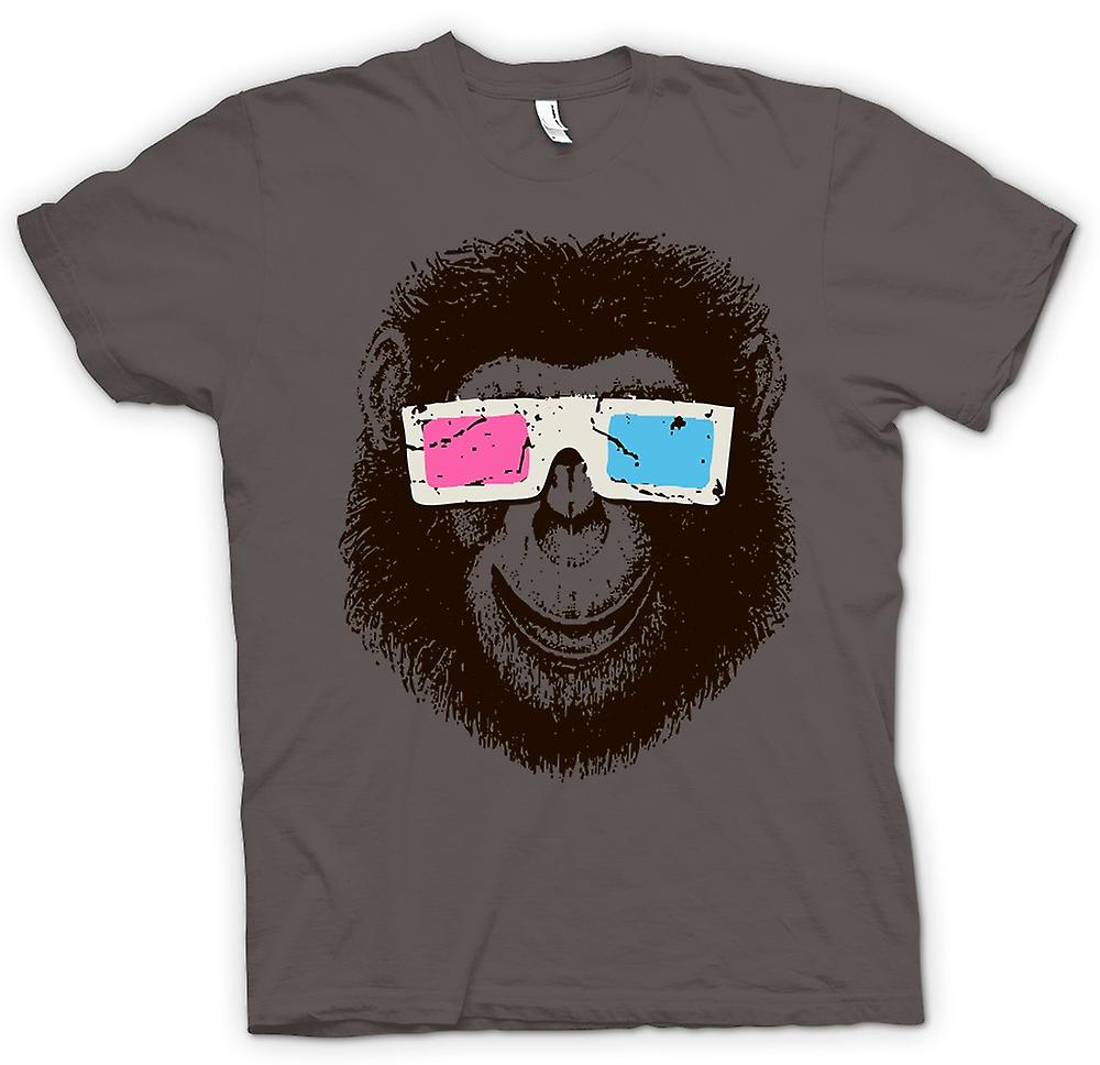 Womens T-shirt - Monkey Ape 3D Glasses - Cool Graphic Design