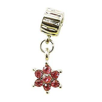 TOC BEADZ Pink Crystal Flower 7mm Dangle Slide-on Bead