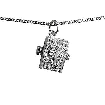 Silver 13x14mm moveable Holy Bible Pendant wide curb Chain 18 inches