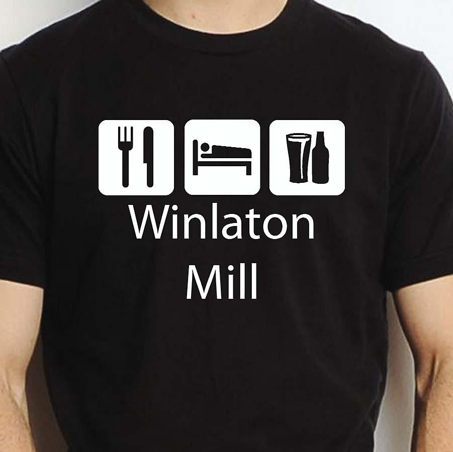 Eat Sleep Drink Winlatonmill Black Hand Printed T shirt Winlatonmill Town