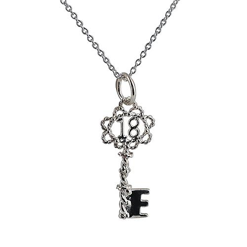 Silver 25x10mm 18 Key Pendant with a rolo Chain 20 inches
